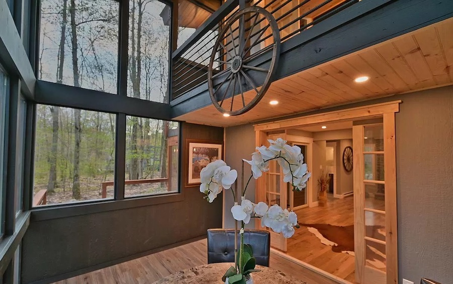 house for sale Lake Naomi rebuilt contemporary dining room, view into living room