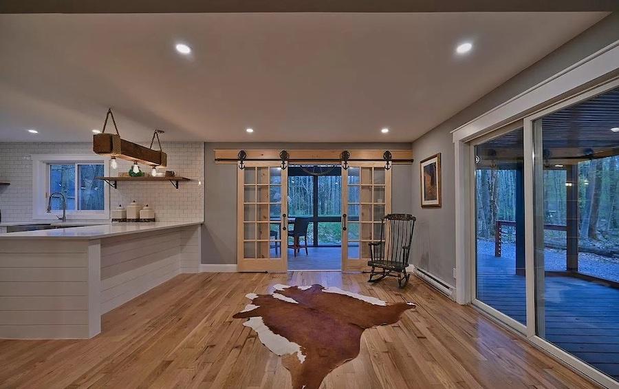 house for sale Lake Naomi rebuilt contemporary living room
