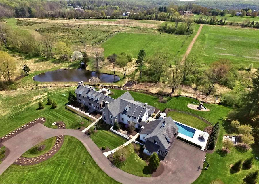 house for sale new hope farmstead aerial view