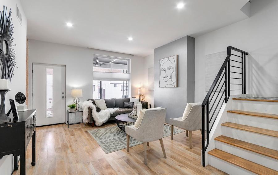 house for sale rebuilt walnut hill rowhouse living room