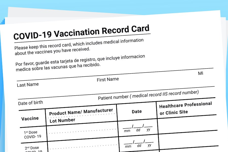 a CDC COVID vaccine passport card