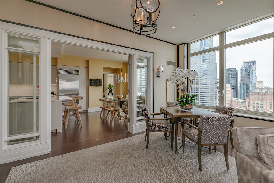 kitchen and great room seating area