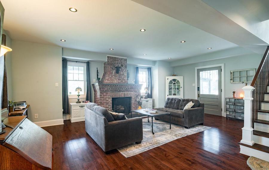 house for sale renovated Lansdowne foursquare living room