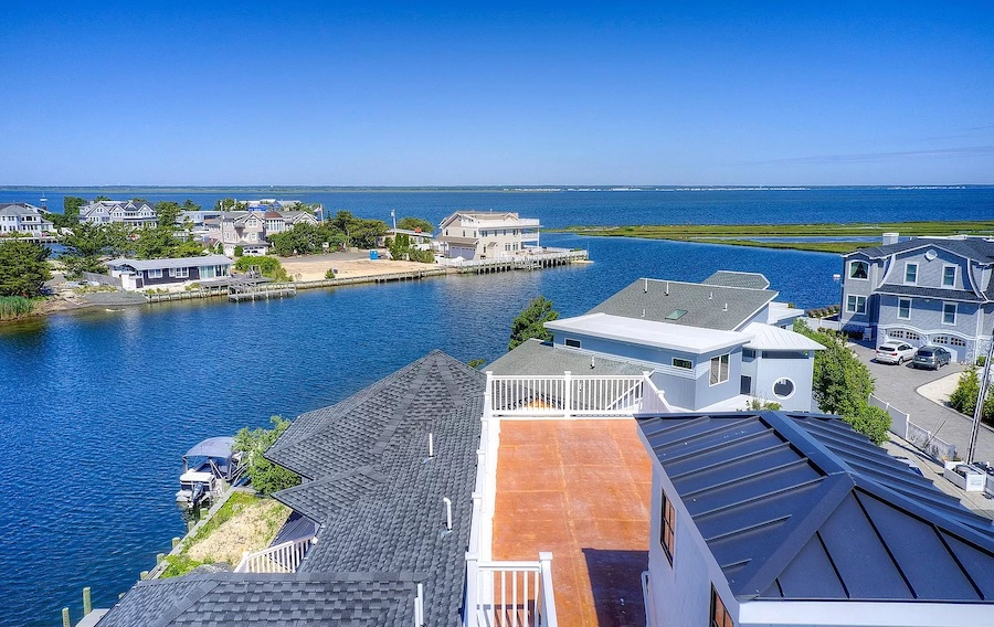 aerial view of roof deck and lagoon inlet