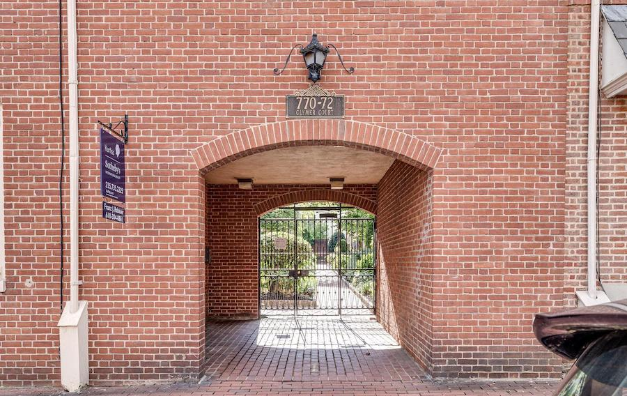 house for sale queen village midcentury courtyard trinity clymer court entrance