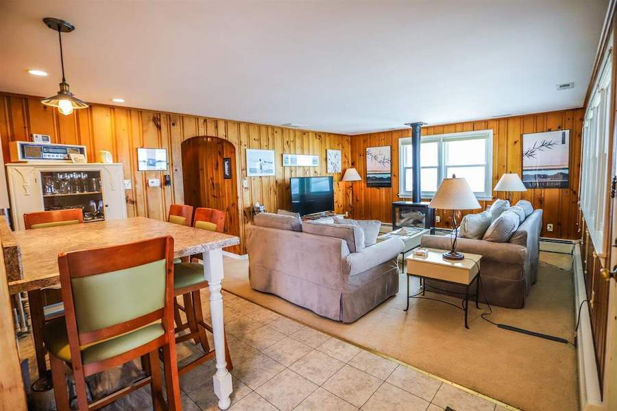house for sale stone harbor midcentury ranch living-dining room