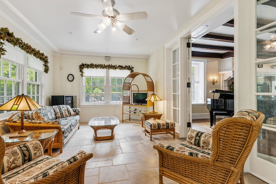 house for sale Horace Trumbauer Wyncote colonial sunroom
