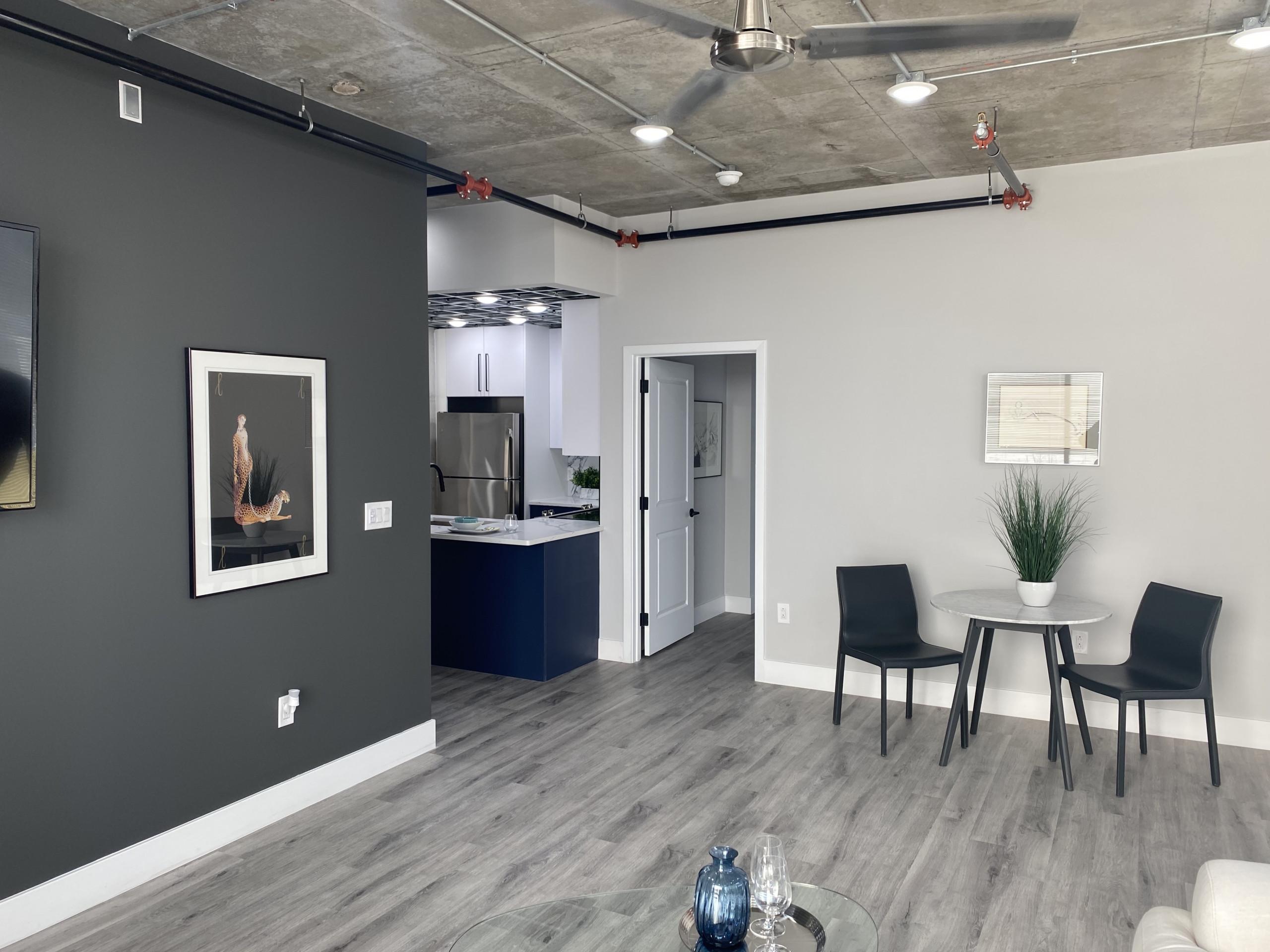 model apartment dining area