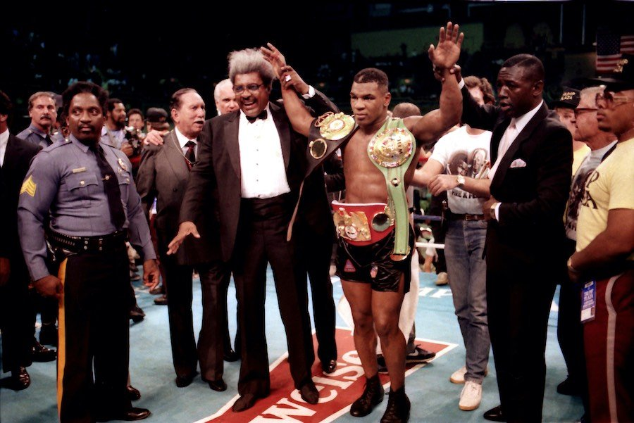 in a memorable atlantic city boxing moment, mike tyson after defeating michael spinks