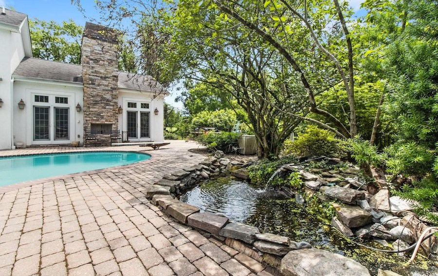 fireplace, pond and fountain