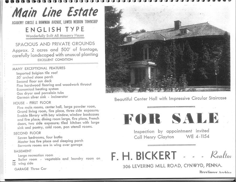 house for sale Merion Station Italianate for-sale ad from the 1950s