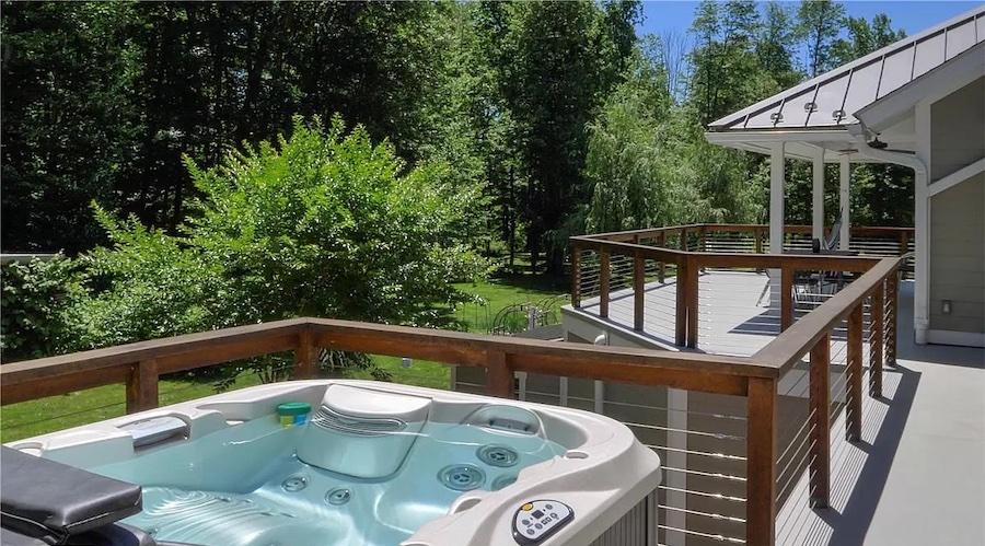 hot tub on main floor deck
