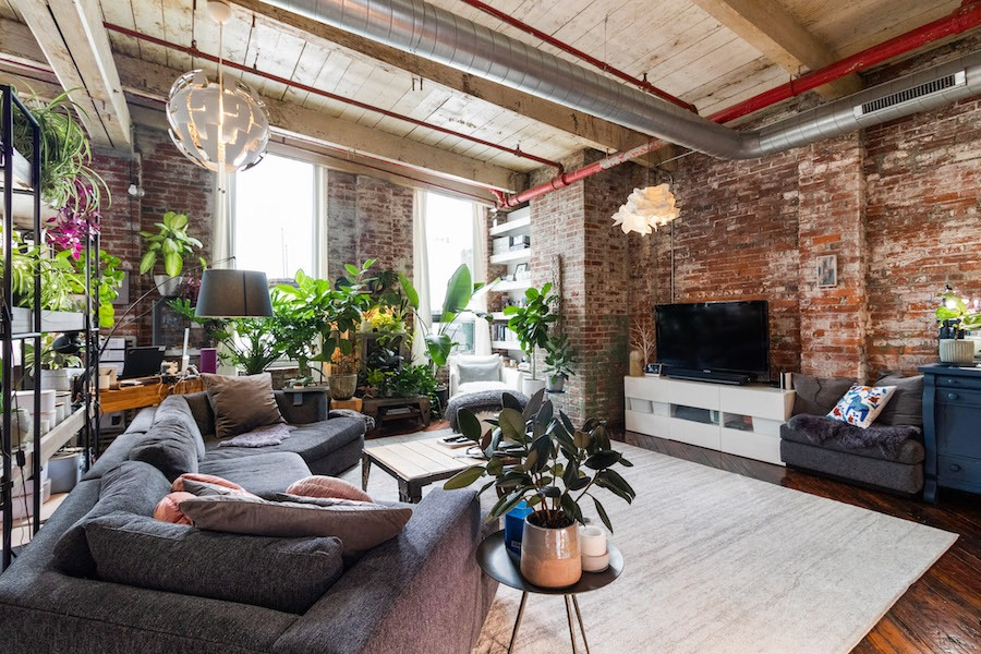 condo for sale Fishtown warehouse loft living room