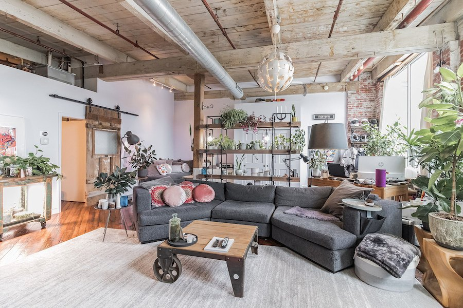 condo for sale Fishtown warehouse loft main living area