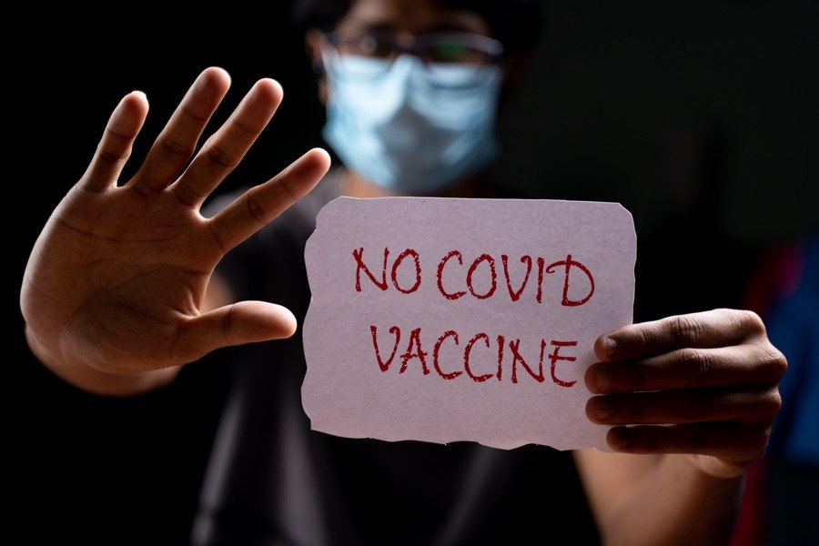 a vaccine-resistant person refuses a covid vaccine