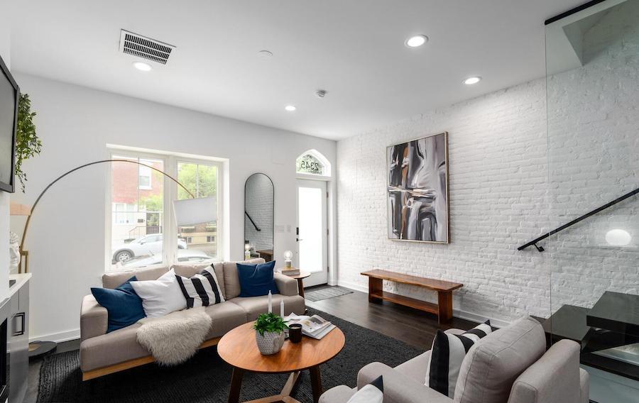 house for sale graduate hospital rebuilt rowhouse living room