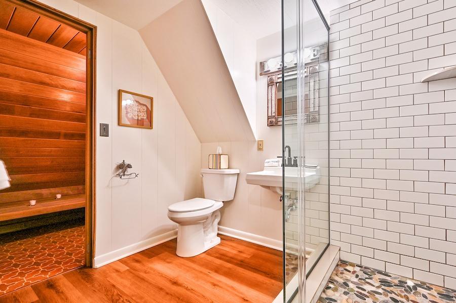 bathroom and sauna