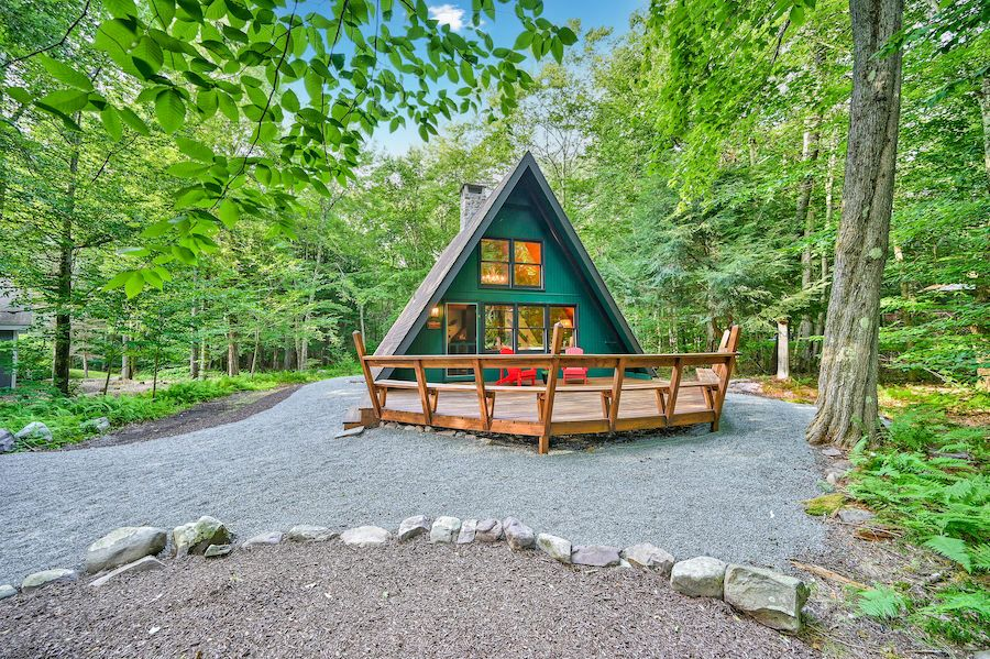 house for sale Lake Naomi a-frame exterior front