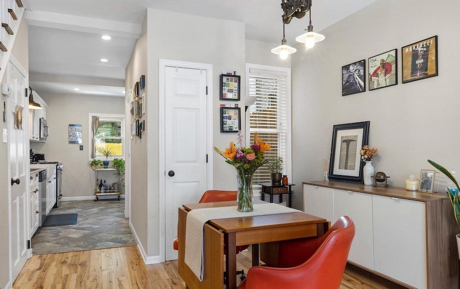 house for sale renovated lower moyamensing rowhouse dining room