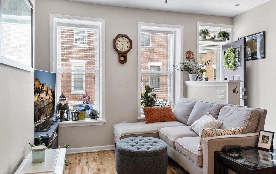 house for sale renovated lower moyamensing rowhouse living room