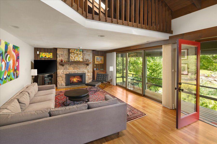 house for sale new hope midcentury modern living room