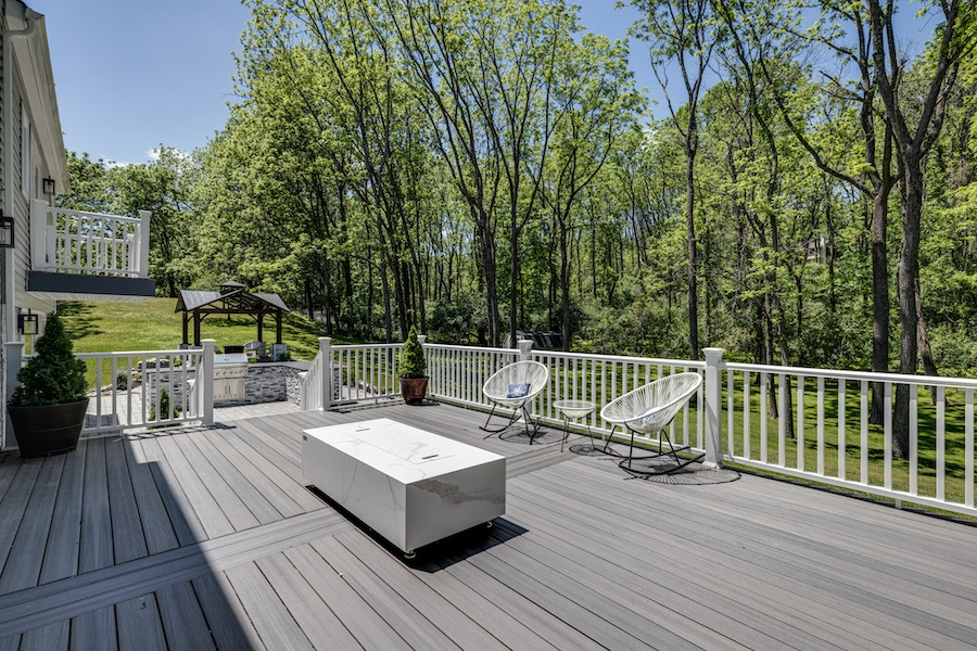 xhouse for sale new hope new construction farmhouse rear deck and patio