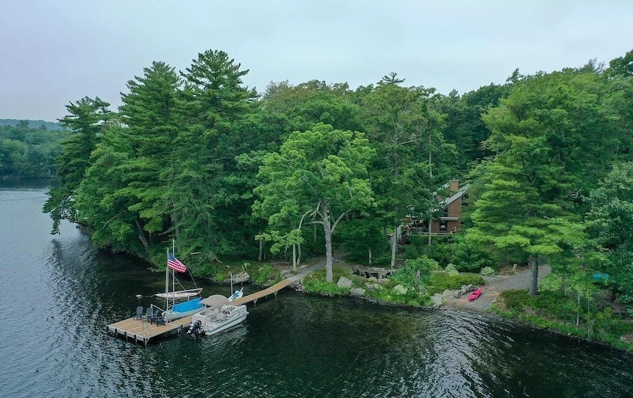 house for sale Paupack lakeside contemporary boat launch and boatslip