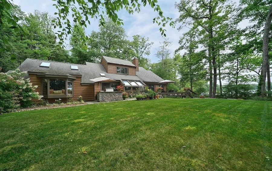 house for sale Paupack lakeside contemporary exterior rear