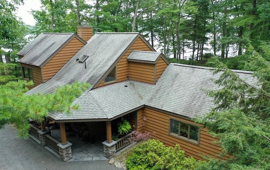 house for sale Paupack lakeside contemporary exterior front
