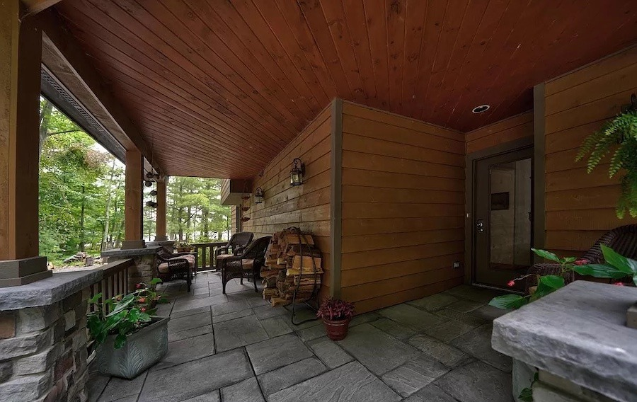 house for sale Paupack lakeside contemporary front porch