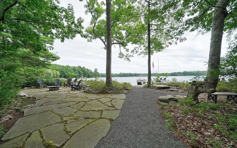 house for sale Paupack lakeside contemporary side patio