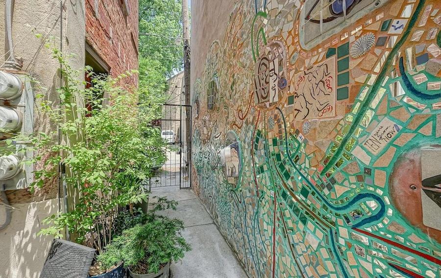 house for sale queen village courtyard trinity Isaiah Zagar mosaic