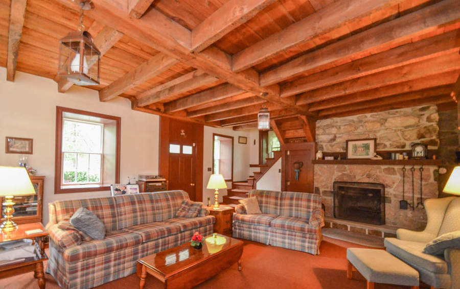 house for sale saylorsville stone farmhouse living room