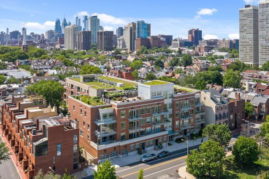 condo for sale society hill head house square unit aerial view of building