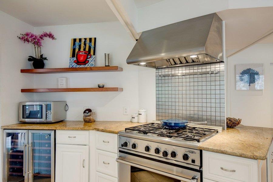 stove and wine fridge