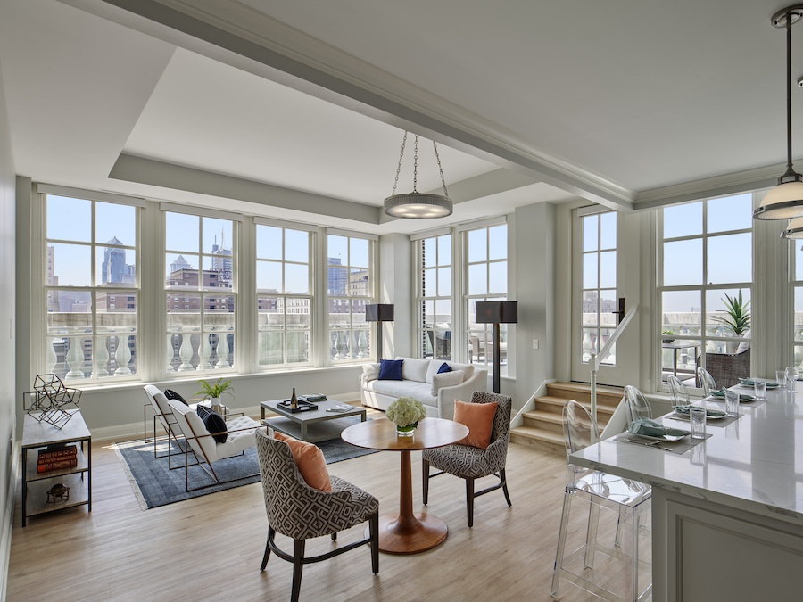 the Curtis penthouse profile living-dining room