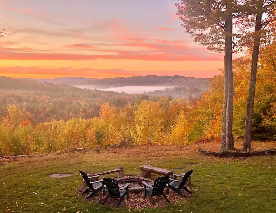 house for sale brackney mountaintop lodge view from firepit in fall at sunset