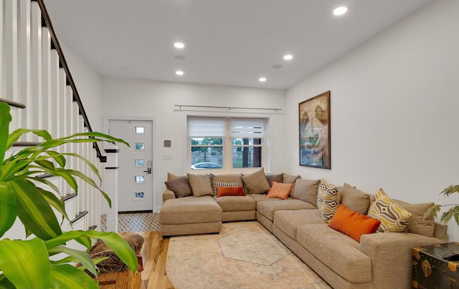 house for sale renovated girard estate rowhouse living room