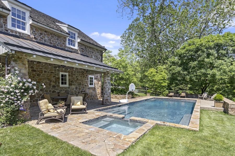 pool and barn