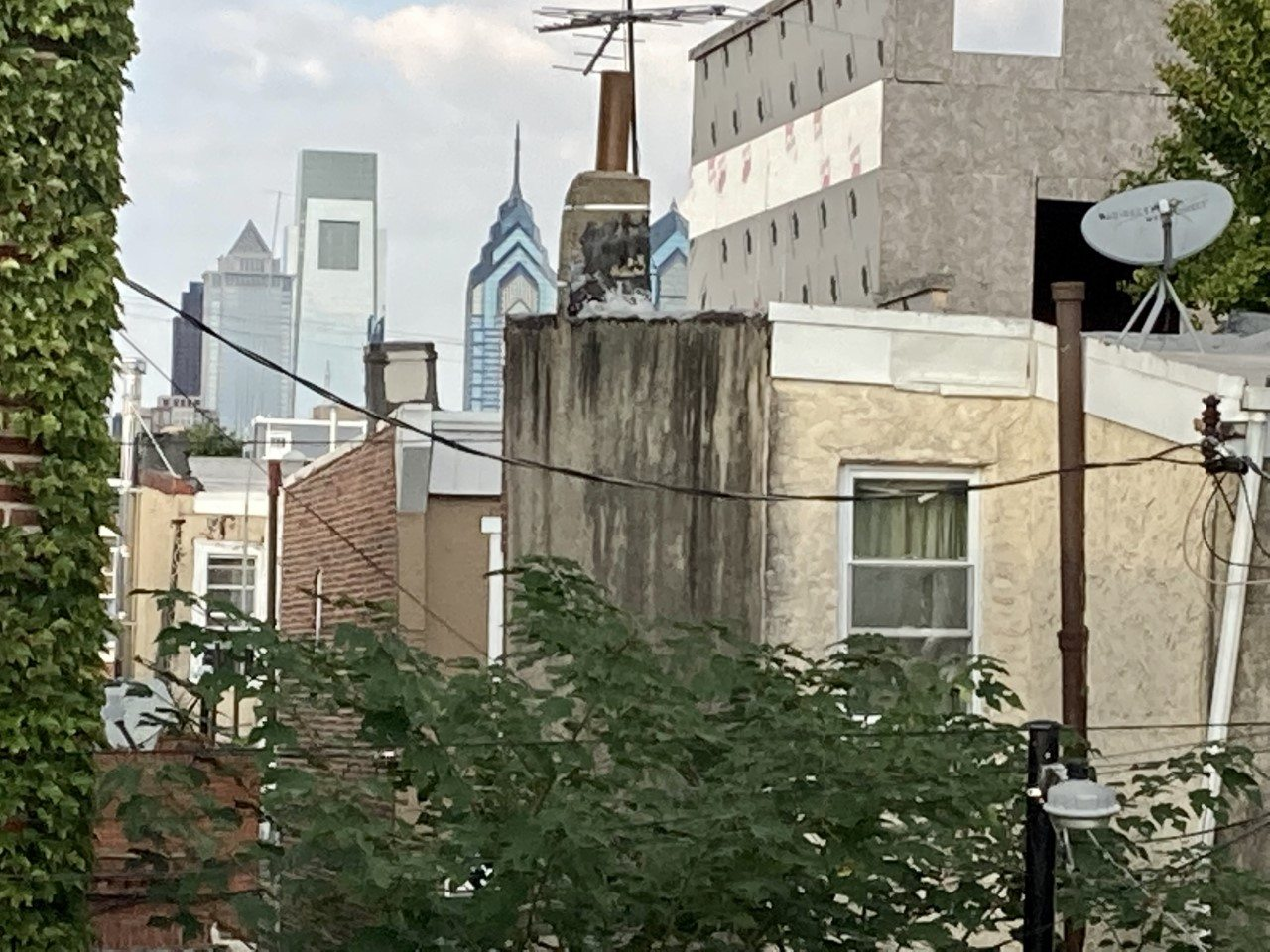 a view of the philadelphia skyline from the tent