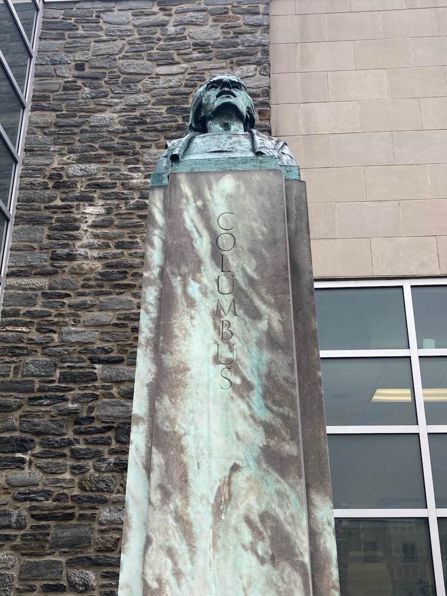 the front of the christopher columbus monument outside the ludington library in bryn mawr