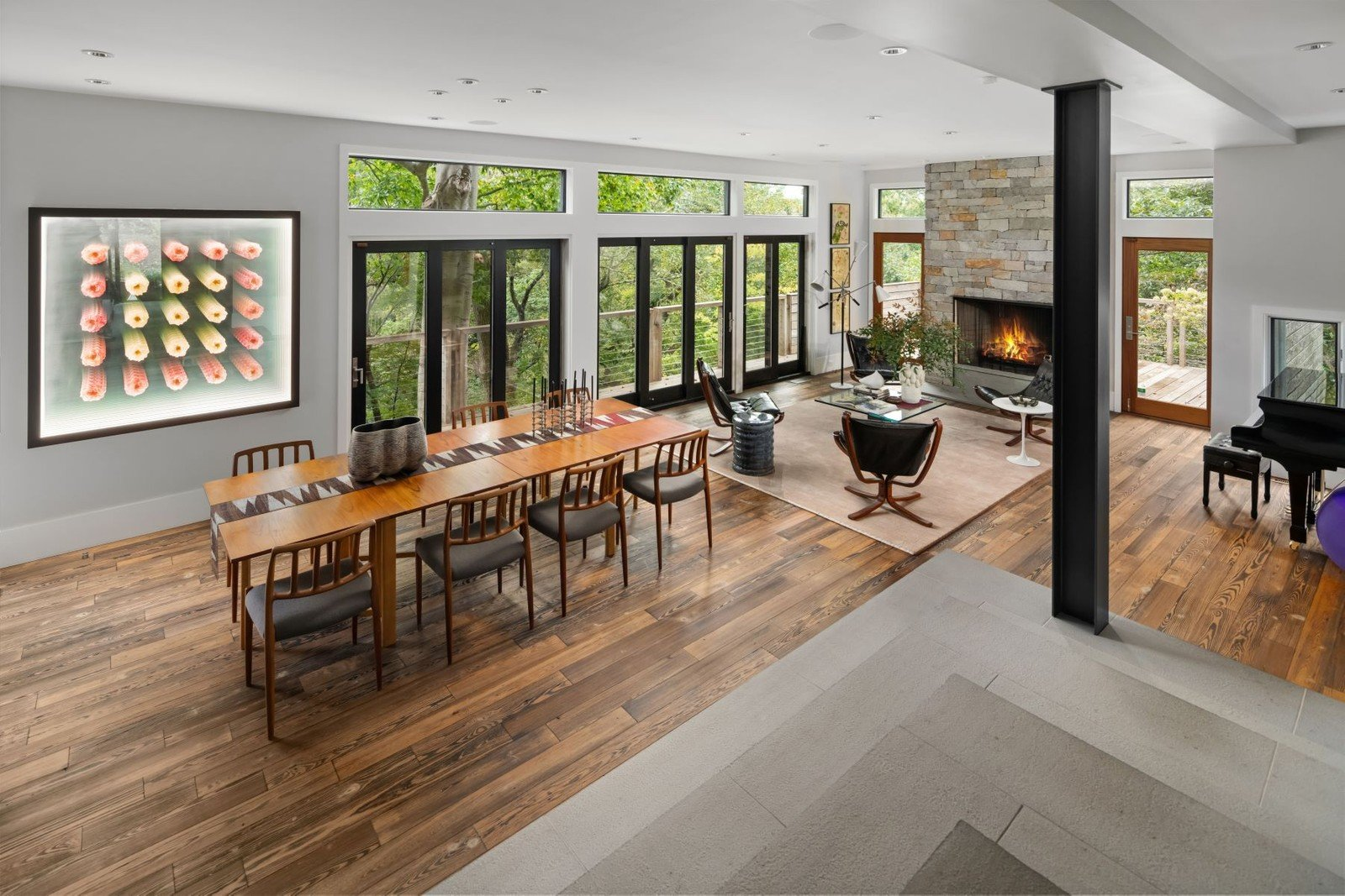 house for sale chestnut hill modern living and dining rooms