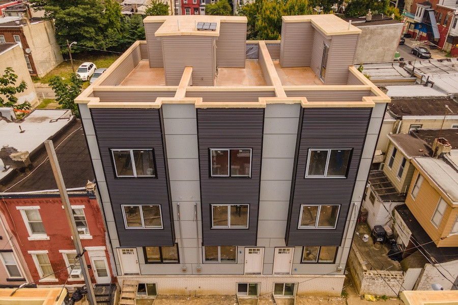 house for sale strawberry mansion new construction townhouse exterior front overhead