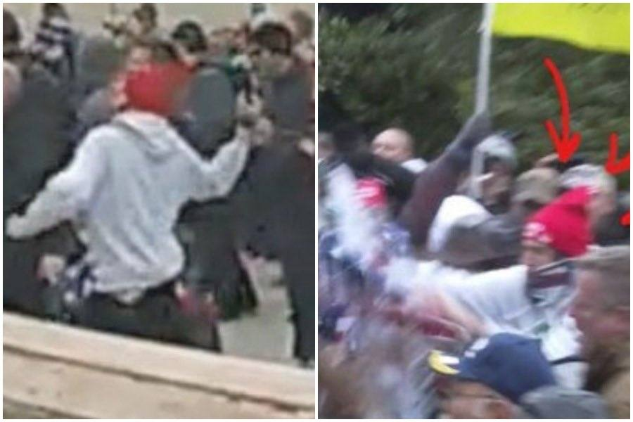 The FBI says these still images from videos show Michael Dickinson of South Philadelphia throwing an object (left) and liquid (right) at law enforcement officers during the Capitol riots