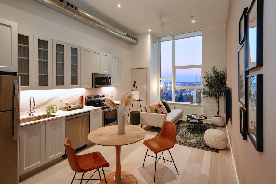 the poplar apartment profile model 1br apartment living area