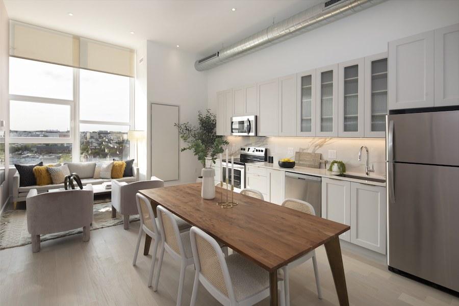 the poplar apartment profile model 2br living area